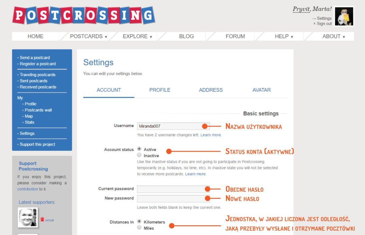 Wpis 14 - Postcrossing rejestracja krok po kroku